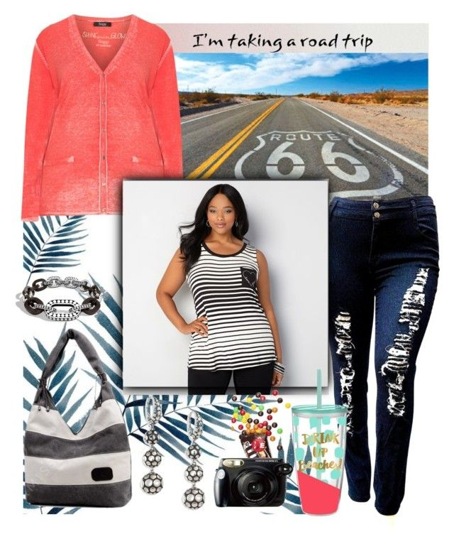"""""""Road Trip"""" by lustydame ❤ liked on Polyvore featuring John Hardy, Sandberg Furniture, Frapp, Avenue, Fujifilm, plussizefashion, BoldStripes and plussizeclothing"""