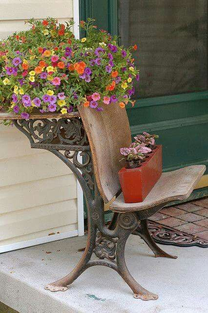 Do something different on the seat. Old school desk Planter