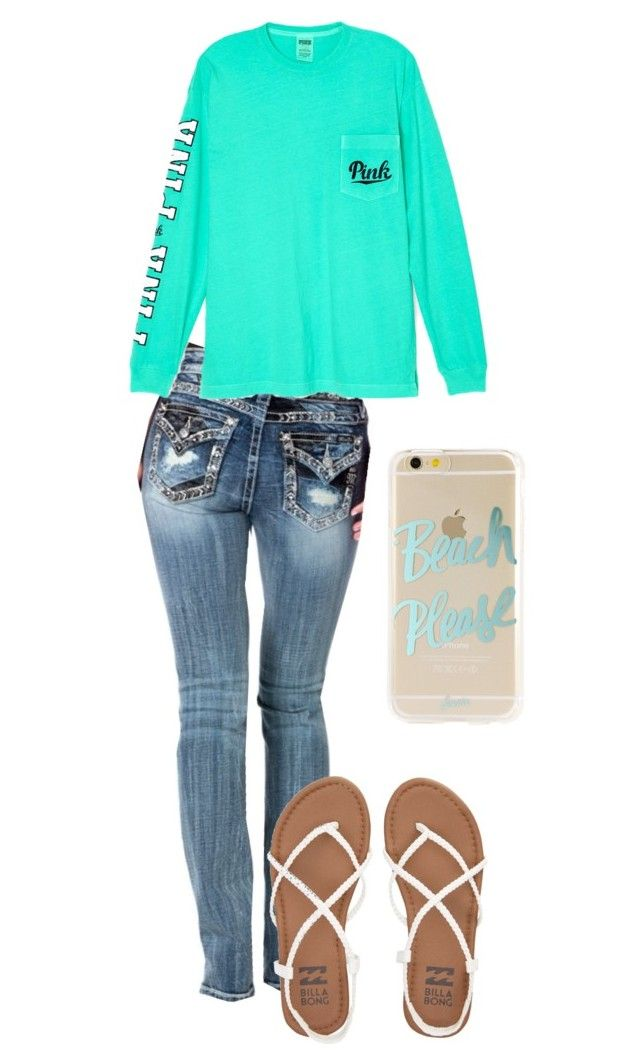 """Jeans"" by siierak ❤ liked on Polyvore featuring Sonix, Miss Me, Billabong and Victoria's Secret"