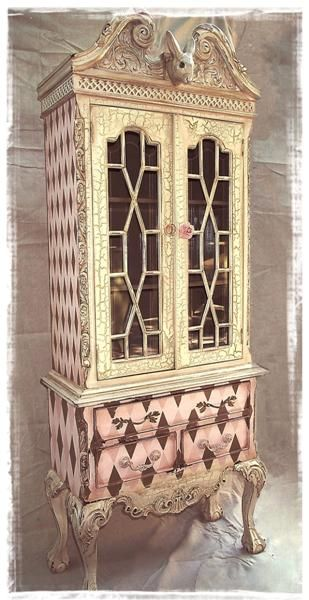 Bunny French Style cabinet painted in Pink & Black Harlequin. Darling piece of whimsy for a nursery, or garden room maybe as well.