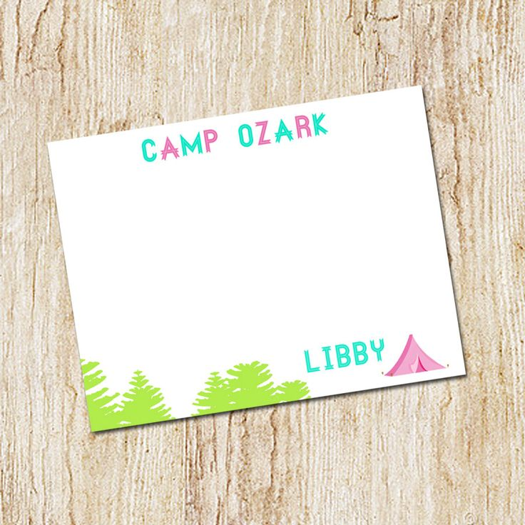 Camp Stationery - Camp Note cards - camp notecards - Personalized Flat note card set with envelopes - ANY CAMP - any colors by peachymommy on Etsy