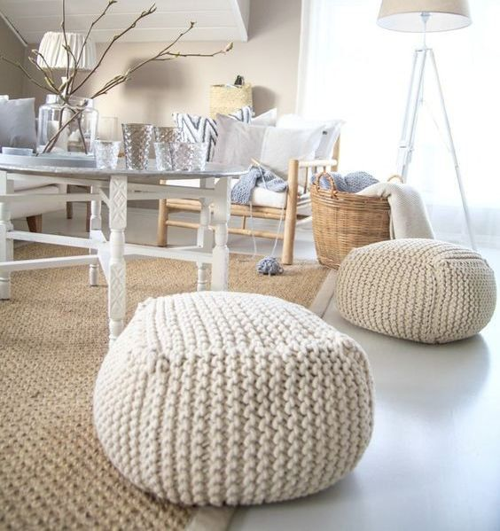 Chunky merino wool Knitted white stuffed pouf - ottoman / Crochet pouf / Chunky wool Knit floor cushion / Crochet footstool