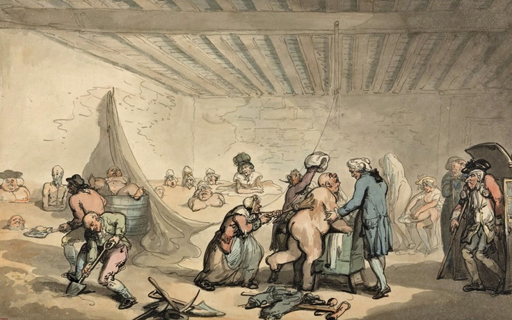 """Dr Graham's Bathing Establishment  undated, Thomas Rowlandson  """"Doctor Graham's, Cold Earth, and Warm Mud Bathing.   Dr. Graham having had the honour of Publickly exhibiting Earth Bathing, at Bath, and at Bristol, every Day for 4 Months. Admission to this New, Curious, and Salutary sight and to the Doctors explanation of it, only One Shilling. The Doctor Lodges at No 6 Wine Office Court Fleet Street.""""  """