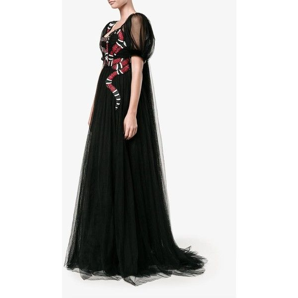 Gucci Snake Embroidered Tulle Gown ($8,390) ❤ liked on Polyvore featuring dresses, gowns, red summer dress, short sleeve summer dresses, red evening gowns, empire waist summer dresses and long sleeve short dress