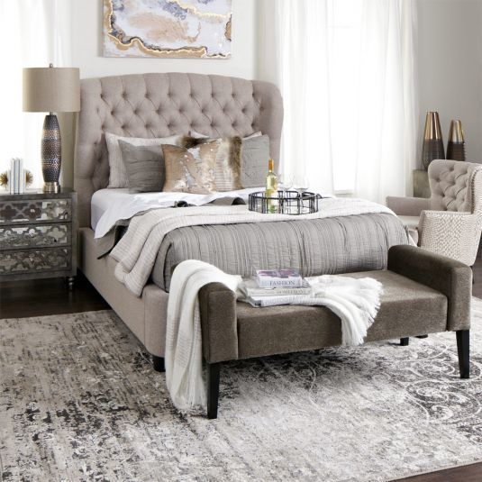 Dark Tan Bed Frame Queen Size Upholstered Bed Jerome S Bedroom Decor Master Bedrooms Decor Remodel Bedroom