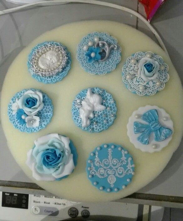 Blue vintage cupcake toppers