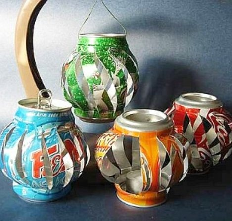 How to make lantern tea lights from  aluminum cans.