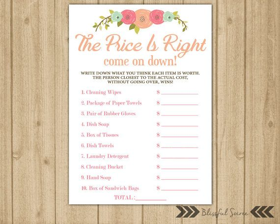 Bridal Shower Game - Price is Right. A game that will have your guest laughing and having fun guessing prices. The item measures 5x7. Simply print