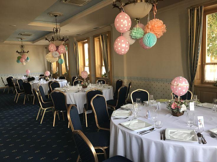 Hot air balloon baby girl party theme by Atelier Floristic Aleksandra