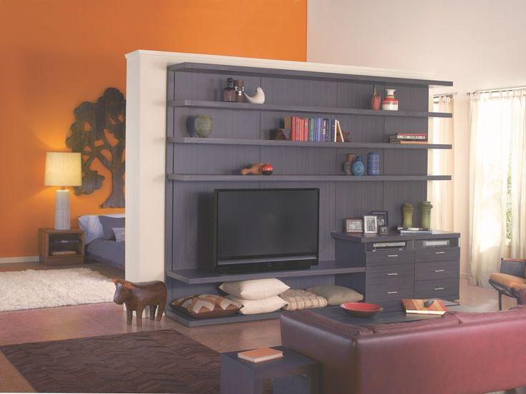 media center doubling as room divider | storage solutions | pinterest