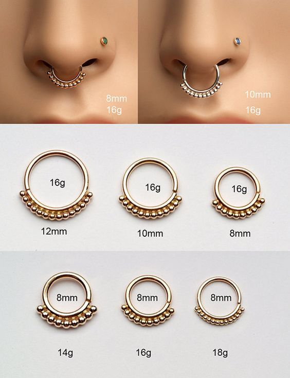 Image result for 16 vs 12 gauge septum jewelry