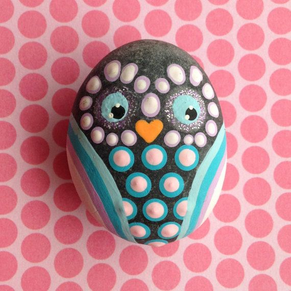 Painted rock, painted stone, stone painting, rock painting. Rock art, Stone art. Hand Painted Stone Owl Magnet!