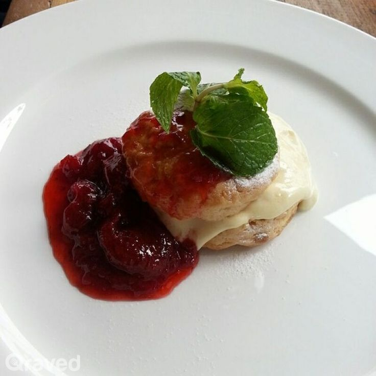 Warm Scones with Devonshire Cream and Strawberry Jam at FJ on 7