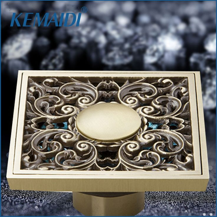 KEMAIDI Vintage T Style antique Brass Bathroom Square Shower Floor Drain Trap Waste Grate With Hair Strainer anti smelly drains #Affiliate