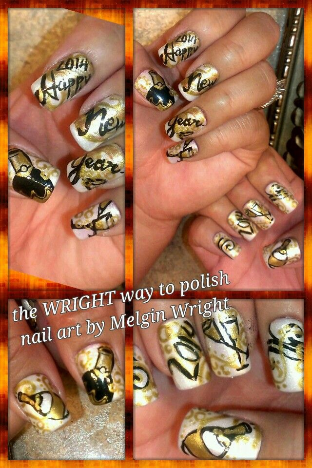 Golden New Year!- Hand painted nail art. Painted with Nail polish and acrylic paint by Melgin Wright  http://www.facebook.com/TheWrightWayToPolishNailArtByMelginWright  http://pinterest.com/melginswright/boards/