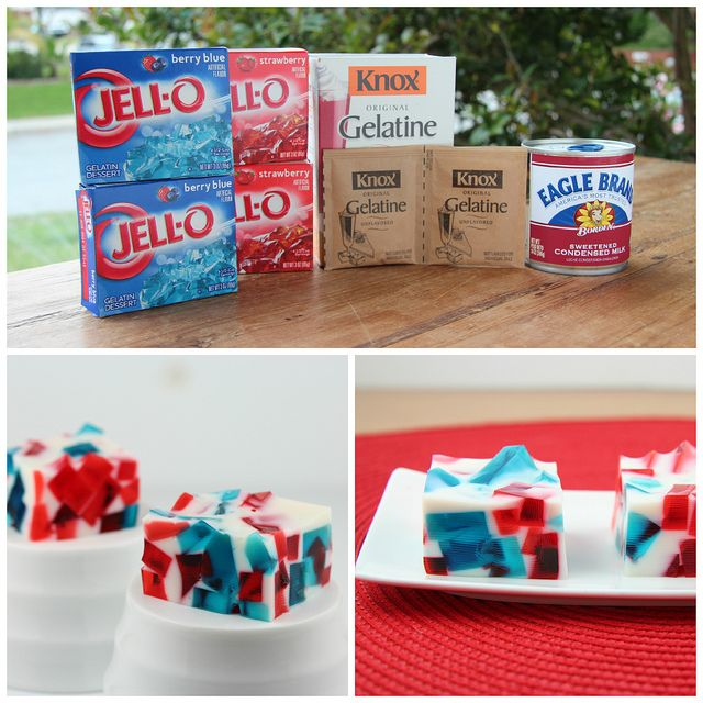 4th of July Patriotic Broken Glass Jell-O by Food Librarian, via Flickr Missing my mommas Jell-O! This will be perfect for baby boys arrival!! :D