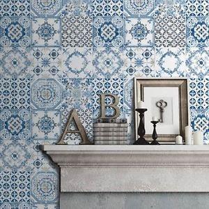 blau fliesen tapete rolls muriva j95601 neu k che badezimmer haben wollen pinterest. Black Bedroom Furniture Sets. Home Design Ideas
