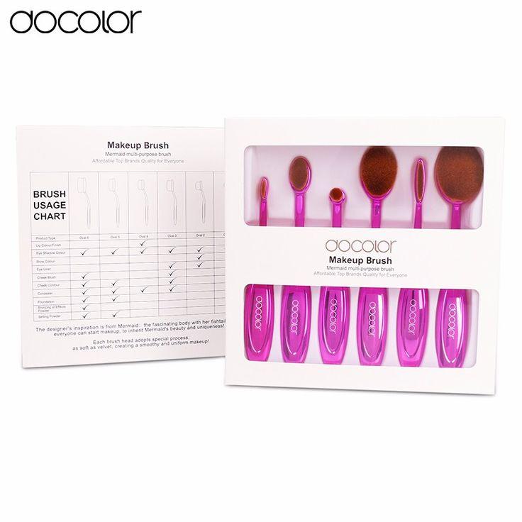Docolor овальные составляют кисть 6 шт. профессиональный зубной щетки набор кистей для макияжа красоты овальная щетка для лица макияж бесплатная доставка купить на AliExpress