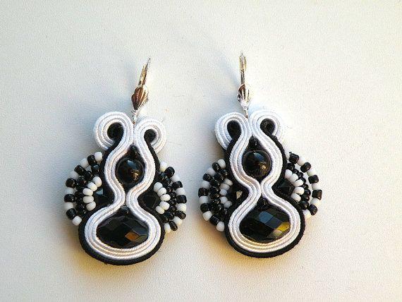 Black&White  soutache earrings by Bajobongo on Etsy