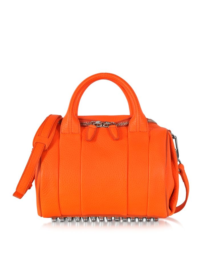 Alexander Wang Flame Rockie Pebbled Leather Satchel w/Rhodium Studs at FORZIERI