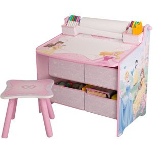 Disney Princess Art Table With Paper Roll, Wipe Board And Storage Features Disney  Princess Characters Includes Wipe Board Desktop With Two Small Storage ...