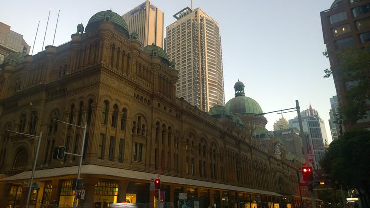 Sunset in Sydney CBD. Queen Victoria  Building at Sydney