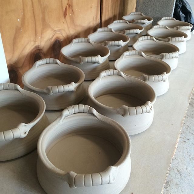 Little Brie Bakers get their handles and line up for their march to the kiln.  #pottery #clay #ceramic #cpstudio