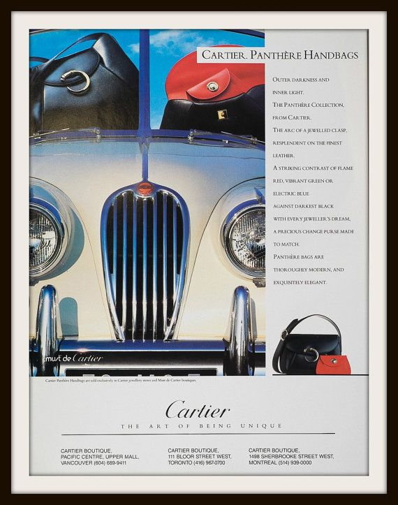 1991 Cartier Panthere Handbag Collection advertisement. Vintage handbag ad. Vintage fashion ad. Vintage Cartier ad.