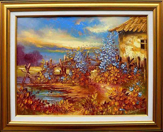 Decorative oil painting on canvas  Blue flowers landscape