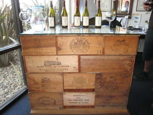 Vintage wine tasting table made with the finest aged Grand Cru wine panels - Whitcraft Winery