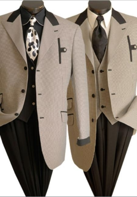 Mens Fashionable Houndstooth Suit Quality Long Zoot Suits