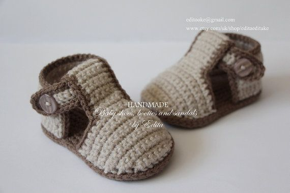Crochet baby sandals gladiator sandals slippers by editaedituke