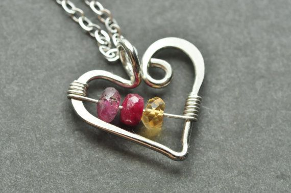 "custom mothers birthstone necklace ""Open Heart"" by muyinmolly -- genuine gemstones!"