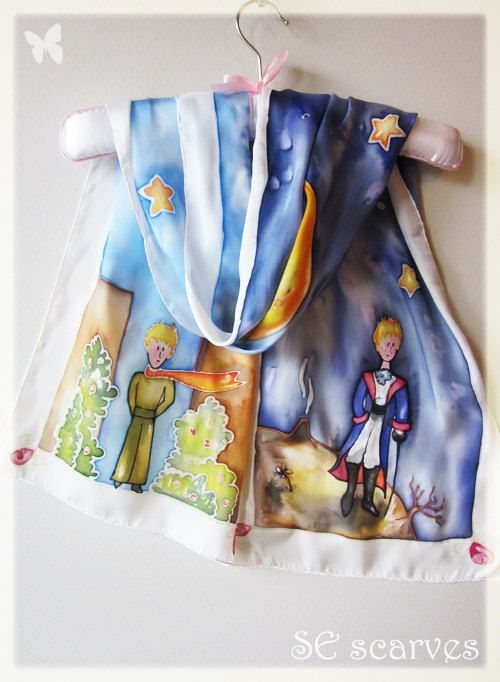 Hand painted scarf.Le Petit Prince. The little prince.