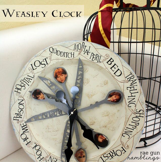 Weasley Family Clock Tutorial perfect for every Harry Potter fan - Rae Gun Ramblings Don't we all need a clock like this?