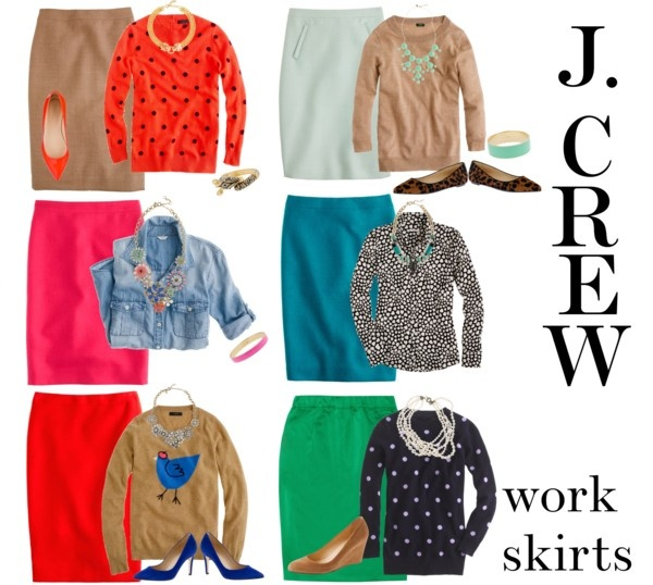 """J. Crew work skirts"" by elizabeth-noreen ❤ liked on Polyvore"