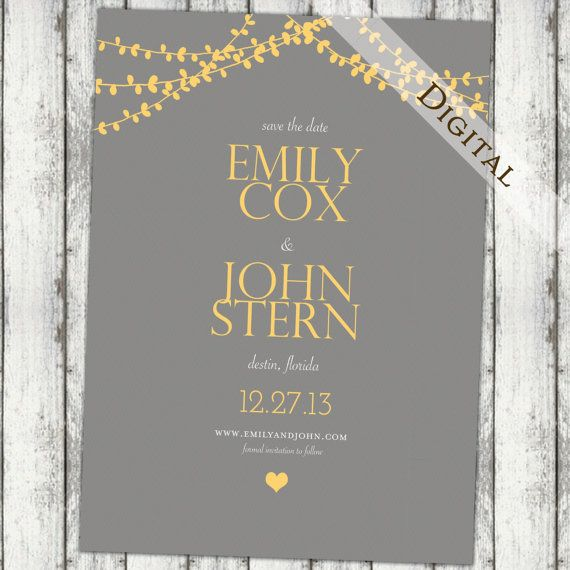 Modern Save the date: grey and yellow, wedding invitation, Save the Date Template, diy, printable, digital, string lights, (item99 on Etsy, 9,84€