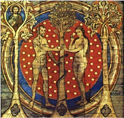 Mural of Adam and Eve and the serpent at the Tree of Knowledge, Mural from St. Michael's Church, Hildesheim Germany 1192 AD.