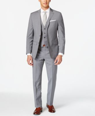 Calvin Klein Grey Vested Big and Tall Slim-Fit Suit - Suits & Suit Separates - Men - Macy's