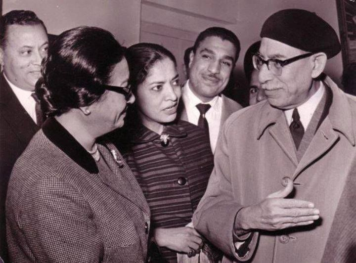 Two Egyptian Icons meeting: Um Kalthum (L), one Egypt's greatest singers ever and Tawfik Alhakeem (R), one of Egypt's greatest intellects and novelists.