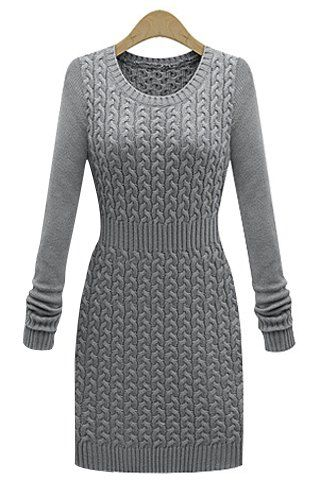 Stylish Solid Color Long Sleeve Bodycon Sweater Dress For WomenSweater Dresses | RoseGal.com