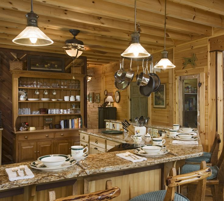 195 best pine interior images on pinterest blue stain for Log home kitchen ideas