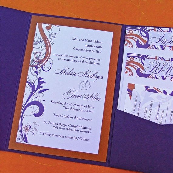 Clemson Girl: Wedding Wednes..er..Thursday: Orange & Purple invitations