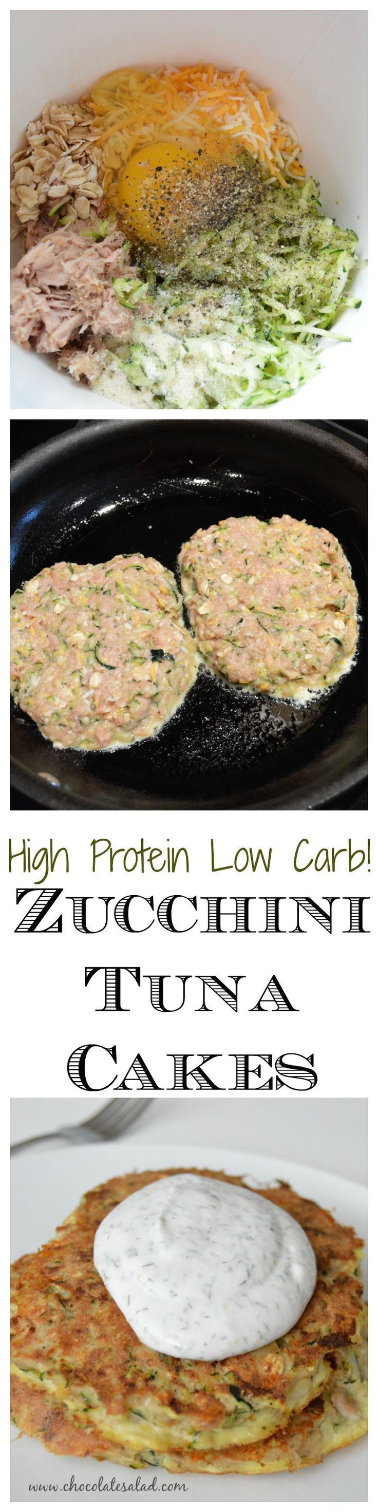 Low Carb Zucchini Tuna Cakes. Only 280 calories and 34 g protein! Very low in carbs, but high in protein - 34g! This keto recipe is a great-tasting healthy meal. (Chicken)