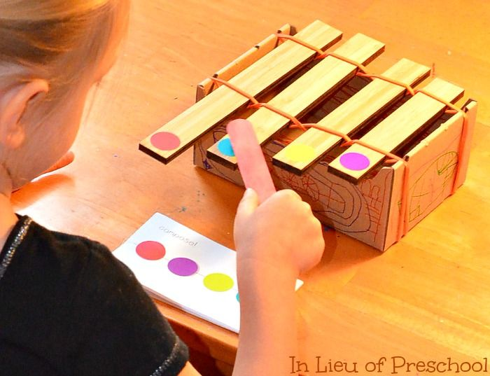 kids make their own patterns to follow with a home made instrument