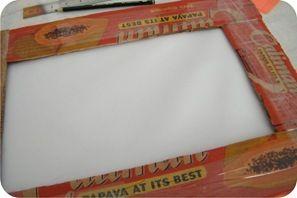 Tutorial: quadro com moldura de papelão forrada com tecido   BananaCraft