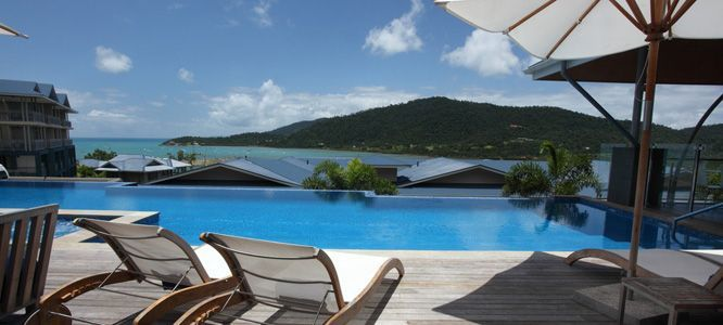 The Pool area at Peppers Airlie Beach looks out towards the Whitsundays!
