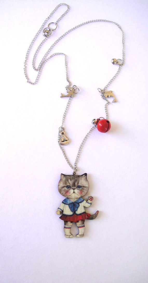My navy cat loves summer  Cat pendant cat by mayasfairytale, $29.50