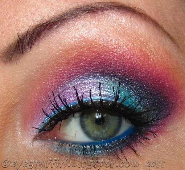 : Makeup Nails, Fun Color, Cotton Candy, Rainbows Eyes, Bold Color, Green Eyes, Makeup Hairs Nails, Candy Eyes, Eyes Makeup