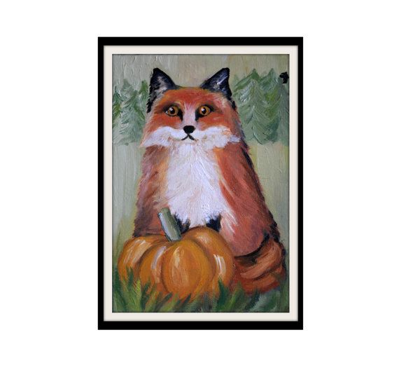 Red Fox Painting  Fox Painting  Forest Animal  Oil by KubuHandmade